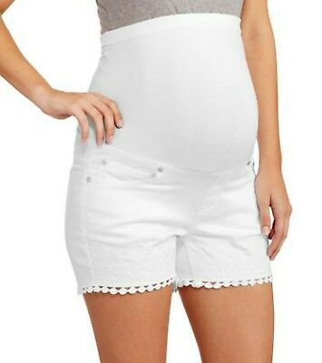 NWT Womens White Denim Embroidered Maternity Shorts - Size 2X