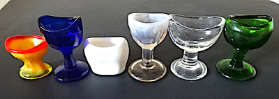 Lot of 6 Eye Wash Cups: Red/Yellow, Blue, Pocelain, White/Pink, Clear, Green