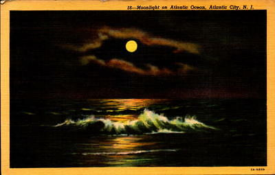 Postcard Moonlight on Atlantic Ocean Atlantic City New Jersey Linen