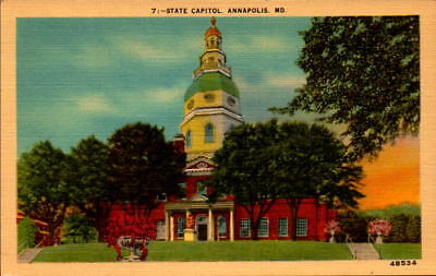 Postcard State Capitol Annapolis Maryland Linen Unused