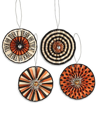 Bethany Lowe Halloween Trick or Treat Rosette Ornaments Set of 4 Decorations