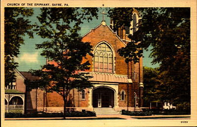 Postcard Church of the Epiphany Sayre Pennsylvania Linen Unused