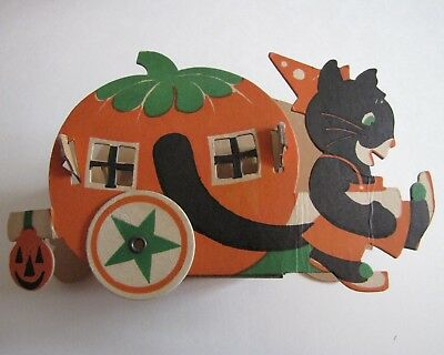 Vintage Halloween Candy Container Cat Pulling Pumpkin House 1950's USA