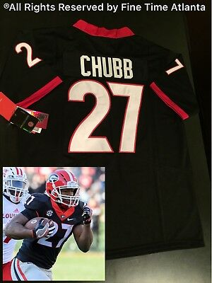 53019fda332 NEW Authentic Nick Chubb Georgia Bulldogs UGA Mens Black Out Jersey Fromm  Gurley