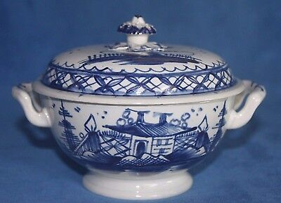 Antique English Liverpool Delft Blue & White Covered Lidded Small Handled Tureen