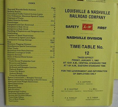 L & N Railroad Co.Time Table No.12 Nashville Division Jan 1 ,1982