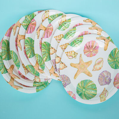 10pcs Pack Round Starfish Sea Snail Paper Plates for Kids Party Baby Shower