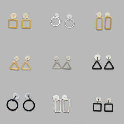 Ladies Creative Hollow Out Square Rectangle Triangle Earring Ear Stud Jewelry