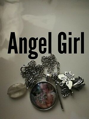 Code 356 Angel clear quartz Infused Necklace Feather Believe Spiritual Reiki