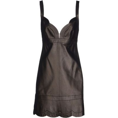 100% Authentic VALENTINO Black Leather Scalloped Panel Hem A-line Dress $3230