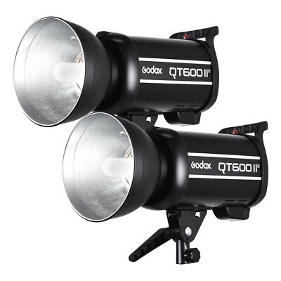 2PCS Godox QT-600IIM 600W 2.4G High Speed Studio Strobe Flash Light 200-240V