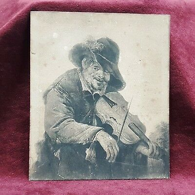 Old Small Framed Print Picture Sketch Of An Itinerant Musician By A Van Ostade