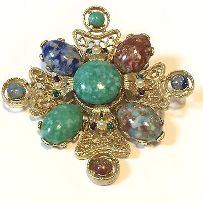 Regal Maltese Cross Brooch Pin Medallion Cab Pearl Necklace Fine Scroll High End