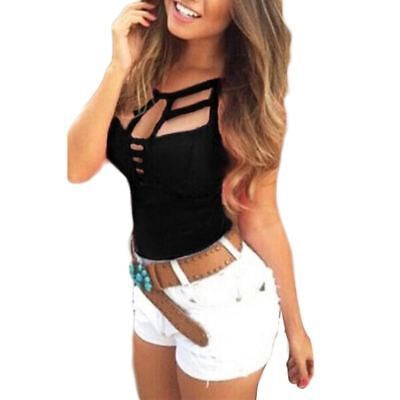 Women Lace Up Fashion Hollow Out Sleeveless Club Crop Tops T-shirts