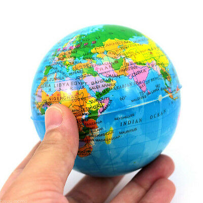 World Map Earth Globe Squeeze Foam Balls Hands Wrist Exercise Stress Relieved JD