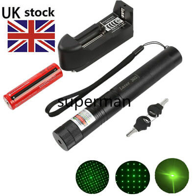 1mw 303 Green Pointer Laser Pen Adjustable Focus 532nm Burning + Battery Charger