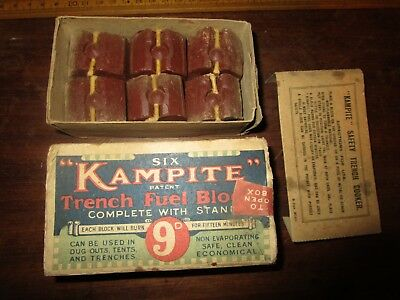 WW1 era boxed Bryant & May's 6 'Kampite' Trench Fuel Blocks with metal stand