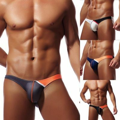New Ice Silk Sexy Mens Bikini Swimwear Elastic Briefs Thongs G-String Underwear