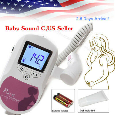 HandHeld Pocket Fetal Doppler LCD Prenatal Heart Rate Monitor 3Mhz Probe,US Sell