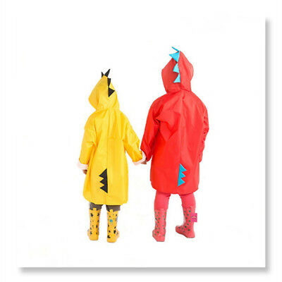 Kids Boys Girls Rain Jacket Cartoon Dinosaur Raincoat Lightweight Rainwear S-2XL