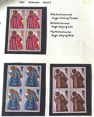 British Stamps, 3 Blocks Of 4 ..........christmas  1972.......... V-F-M  N-H