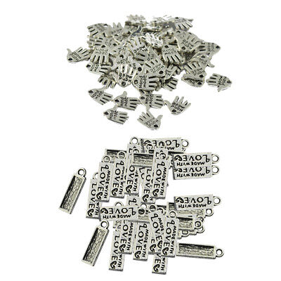 100 Pieces Alloy Silver Tibetan Charms Pendant Hand Palm Rectangle Beads