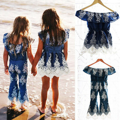 AU Sisters Kids Baby Girls Embroidery Lace One Piece Jumpsuit Romper Dress 1-6T