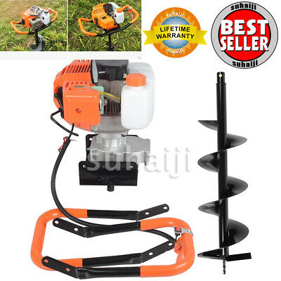 """2.2HP Gas Powered Post Hole Digger with 8"""" Earth Auger 52CC Power Engine USA"""