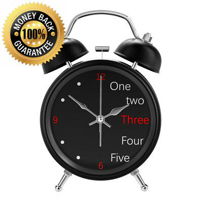 Lewondr Twin Bell Alarm Clock, Vintage Classic Bedside and Desk Clock with...