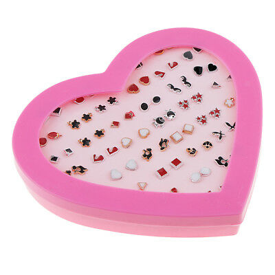 36 Pairs Bulk Enamel Assorted Ear Studs Pink Love Heart Rubber Stoppers
