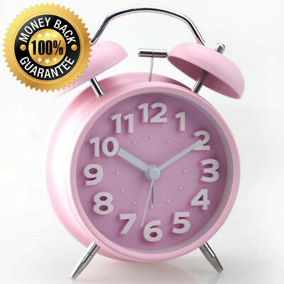"""Ukey 4"""" Twin Bell Alarm Clock Non-ticking Bedside Table Travel Vintage With..."""