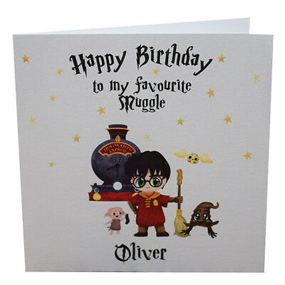 PERSONALISED HARRY POTTER Birthday Card With Hogwarts Express And Friends
