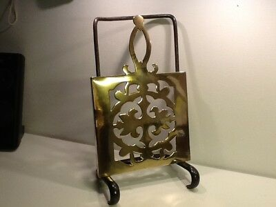 Antique English Victorian Quality Brass & Iron Trivet