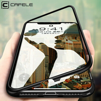 Cafele Magnetic Adsorption Metal Tempered Glass Back Cover Case For iPhone X 8 7