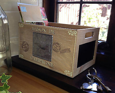 French Wooden Fruit Storage Box Vegetable Trug Crate Vintage Style Chalkboard