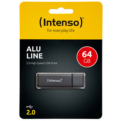 kQ Intenso USB Stick Alu Line 64 GB USB 2.0 Speicherstick anthrazit
