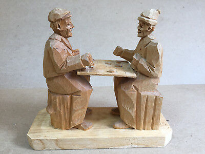 Folk Art Wood Carving Featuring 2 Men Playing Chess - Signed JLD - Natural Wood