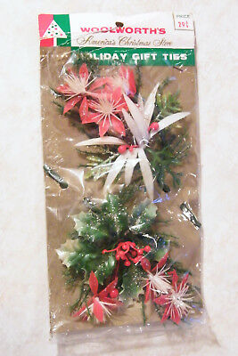 Vtg Plastic CHRISTMAS CORSAGES or GIFT TIES 2 Poinsettia Flowers w/ Glitter NVOS