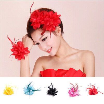 Flower +Feather Fascinator Bead Beak Hair Clip Brooch Ladies Day Ascot Races New