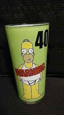 """The Simpsons. Homer """"Warning 40"""" Years Old Glass"""