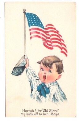 Antique Patriotic Postcard Twelvetrees Boy Flag My Hat's Off to Her Posted 1917