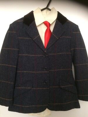 Shires Child Navy Tweed Checked Jacket size 26""