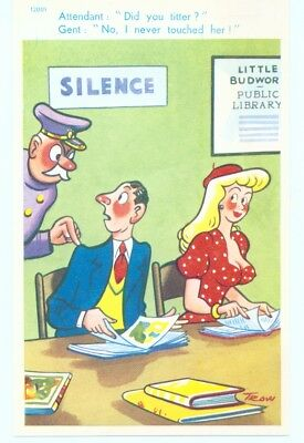 """""""Attendant: Did you titter? - No I never touched her""""   COMEDY POSTCARD - Mint"""