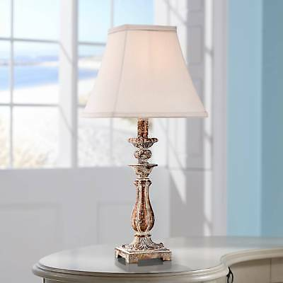 Cottage Table Lamp Distressed Antique Gold White Shade for Living Room Bedroom