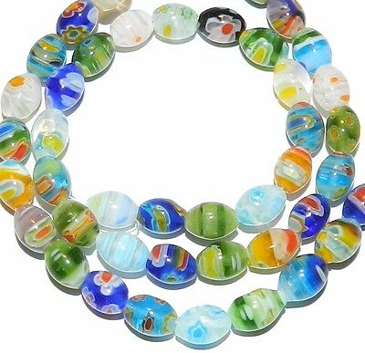 """G2462 Multi-Colored Assorted 9mm Tapered  Oval Barrel Millefiori Glass Bead 15"""""""