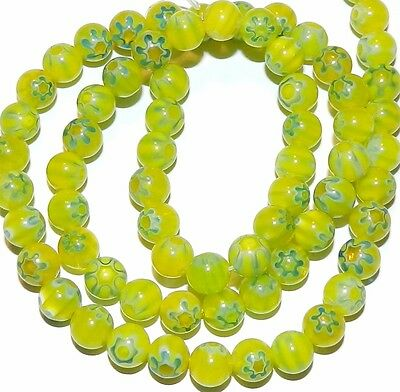 """G2464 Green with Light Blue Flowers 6mm Round Millefiori Glass Beads 16"""""""