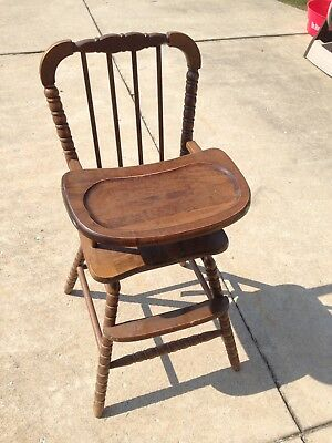 Vintage Jenny Lind STYLE Wooden Highchair High Chair Solid Wood Dark Brown