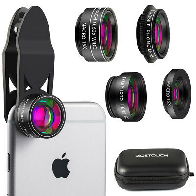Camera Lens Kit 5 in 1 Zoom Telephoto Lens + Fisheye lens + 15X Macro Wide Angle
