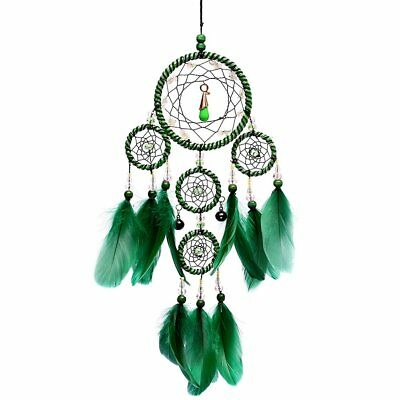 Traditional Catcher Hanging Feathers Ornament,Wall Hanging Gift 19.6''Long,Green