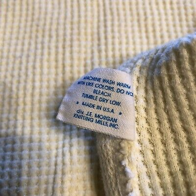 Baby JE Morgan Cozy Yellow Waffle Thermal Blanket Lovey Security Made In USA Vtg